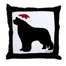NewfSantaOnBlack Throw Pillow