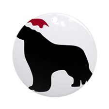 NewfSantaOnBlack Round Ornament