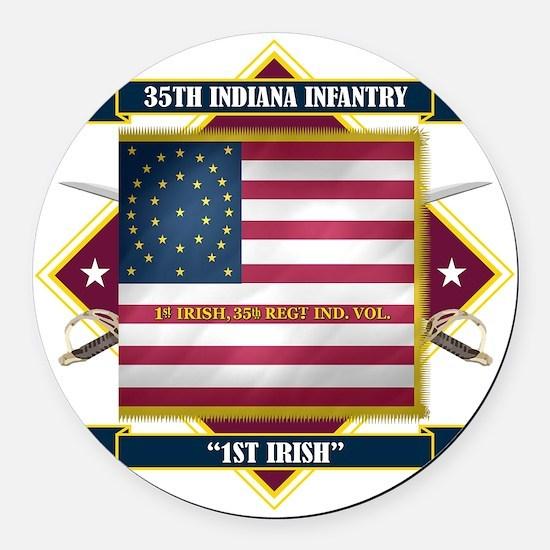 35th Indiana -1st Irish (Diamond) Round Car Magnet