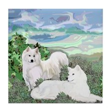 samoyed blanket Tile Coaster