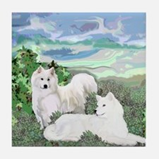 samoyed blanket Tile Coaster