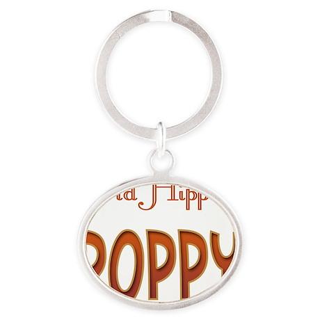 OLD HIPPIE POPPY Oval Keychain