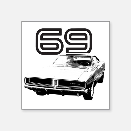 """1969 Charger 03 Square Sticker 3"""" x 3"""""""