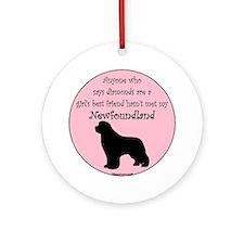 Newf - Girls Best Friend Round Ornament