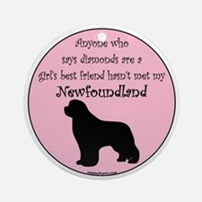 Newf - Girls Best Friend Round Ornament