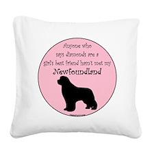 Newf - Girls Best Friend Square Canvas Pillow