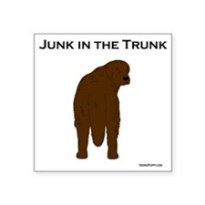 "Brown Newf Junk in the Trun Square Sticker 3"" x 3"""