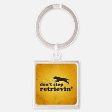 retrievin-distressedbgchocsq Square Keychain
