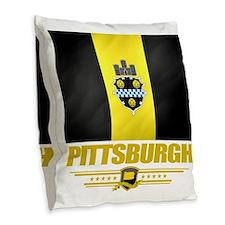 Pittsurgh (Flag 10) Burlap Throw Pillow