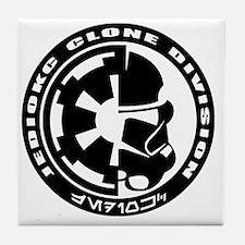 clone logo black Tile Coaster