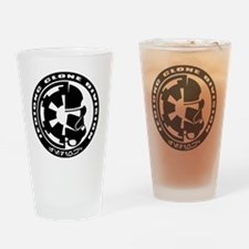 clone logo black Drinking Glass