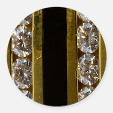 diamond_black_coral_gold_ring_sta Round Car Magnet