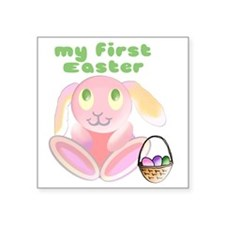 "babys-first-easter3 Square Sticker 3"" x 3"""