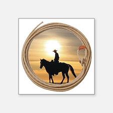 "lasso and cowboy Square Sticker 3"" x 3"""