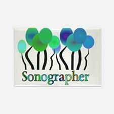 Sonographer Trees Blue Green Rectangle Magnet