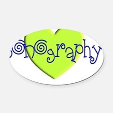 sonography green heart Oval Car Magnet