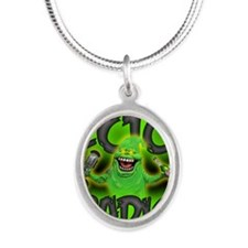 ectoBlanket2 Silver Oval Necklace