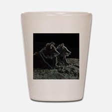 sheltie scratchboard Shot Glass