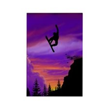 Snowboarder Off Cliff Rectangle Magnet