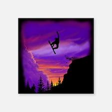 """Snowboarder Off Cliff Square Sticker 3"""" x 3"""""""
