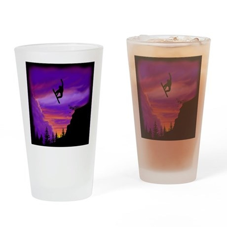 Snowboarder Off Cliff Drinking Glass