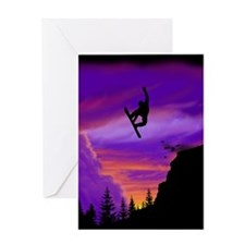 Snowboarder Off Cliff Greeting Card