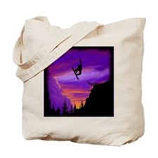Snowboarder Off Cliff Tote Bag