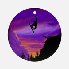 Snowboarder Off Cliff Round Ornament