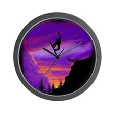 Snowboarder Off Cliff Wall Clock