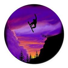Snowboarder Off Cliff Round Car Magnet