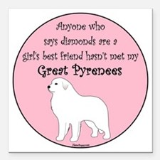 "GBF_Pyrenees Square Car Magnet 3"" x 3"""