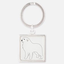 GreatPyrenees Square Keychain