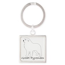 GreatPyreneesText Square Keychain