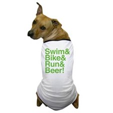 swim-bike-green Dog T-Shirt