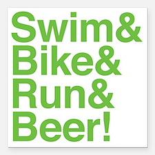 "swim-bike-green Square Car Magnet 3"" x 3"""