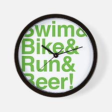 swim-bike-green Wall Clock