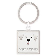 GreatPyreneesFace Square Keychain