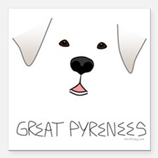 "GreatPyreneesFace Square Car Magnet 3"" x 3"""