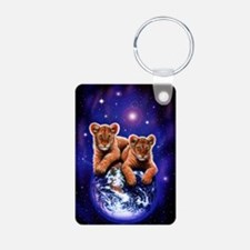 Lion Cubs on Earth Aluminum Photo Keychain