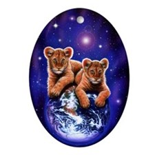 Lion Cubs on Earth Oval Ornament