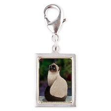 Siamese Cat Silver Portrait Charm