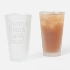 swim-bike-beer-wht Drinking Glass