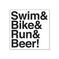 "Swim-bike-beer-2 Square Sticker 3"" x 3"""