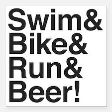 """Swim-bike-beer-2 Square Car Magnet 3"""" x 3"""""""