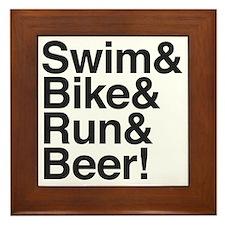 Swim-bike-beer-2 Framed Tile