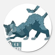 Token Skeptic Curls and Line Cat Round Car Magnet