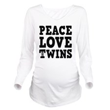PeaceLoveTwins2 Long Sleeve Maternity T-Shirt
