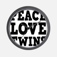 PeaceLoveTwins2 Wall Clock