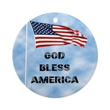 God Bless America 6 Round Ornament