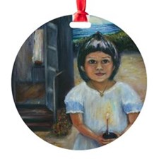 Easter girl final square Ornament